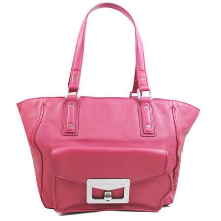 Marc Jacobs 時尚質感全革壓紋肩背托特包.玫瑰紅