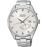 SEIKO Kinetic 星期逆跳人動電能鋼帶錶(白/42mm) 5M84-0AB0S
