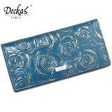 【DeckasParis】法國名品真皮皮夾玫瑰手機包禮盒真皮女夾真皮長夾(黑/咖/紅/藍)BW-0117-1