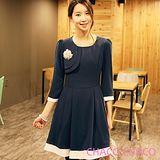 預購【CHACO韓國】氣質優雅配色七分袖洋裝+皮帶CLDC-O-29 (丈青色ML)