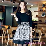 預購【CHACO韓國】名媛風範併接圖騰蕾絲配色裙擺七分袖洋裝CLDC-O-5(黑色ML)