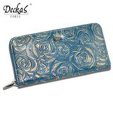 【DeckasParis】法國名品真皮皮夾玫瑰手機包禮盒真皮女夾真皮長夾(黑/咖/紅/藍)BW-0117-0