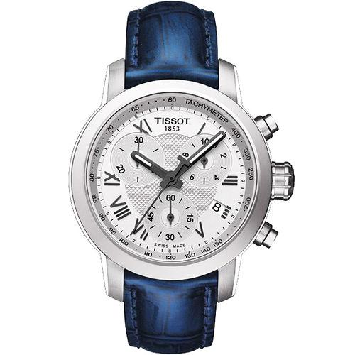 TISSOT PRC 200 ladies 唯美 計時腕錶~銀X藍 T0552171603