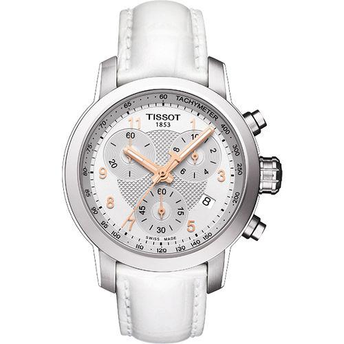 TISSOT PRC 200 ladies 唯美 計時腕錶~銀X白 T0552171603