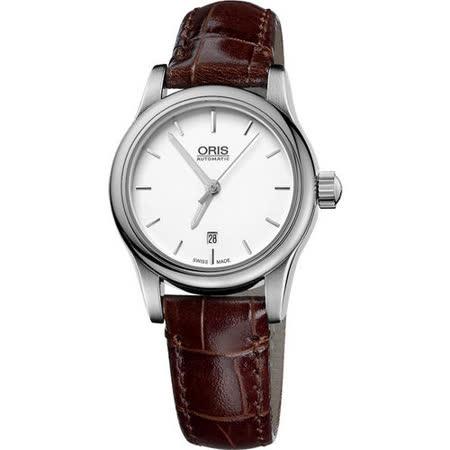 Oris Classic 經典三針機械女錶-白/咖啡 561.7650.40.51LS