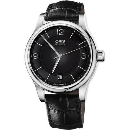 Oris Classic Date 經典都會時尚機械腕錶-黑 0173375944034-0752011