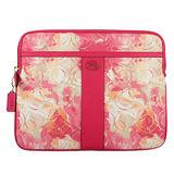 COACH 新款渲染花卉亮絲C紋iPad保護套-桃紅色