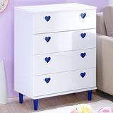 【奧克蘭】心心相印寬四抽收納櫃-藍色