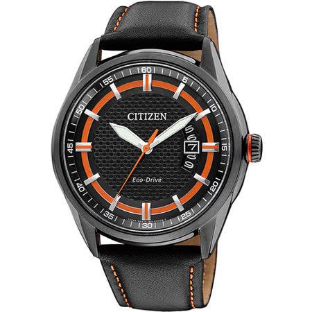 CITIZEN Eco-Drive METAL 大三針時尚限量腕錶-黑X橘 AW1184-13E