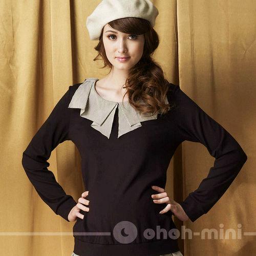 【ohoh-mini孕婦裝】萌系主義假兩件荷葉邊孕婦上衣