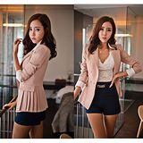Kate❤Classic 韓版暖色時尚反折袖修身百褶設計中長款西裝外套(UB00096)