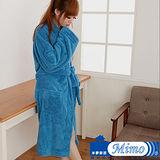 米夢家居 水乾乾SUMEASY開纖吸水紗-柔膚浴袍(藍)台灣製造