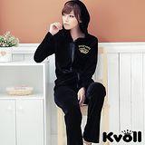 【KVOLL中大尺碼】黑色絲光絨金色刺繡休閒運動套裝