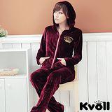 【KVOLL中大尺碼】棗紅色絲光絨金色刺繡休閒運動套裝