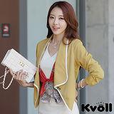 【KVOLL中大尺碼】黃色韓版時尚拼色翻領百搭小外套