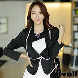 【KVOLL中大尺碼】黑色韓版時尚拼色翻領百搭小外套