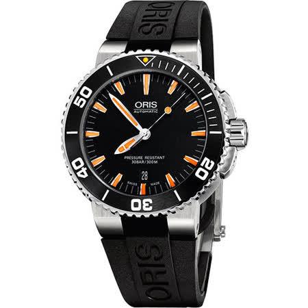 Oris Aquis 時間之海專業潛水機械腕錶-黑/橘時標 733.7653.41.59RS