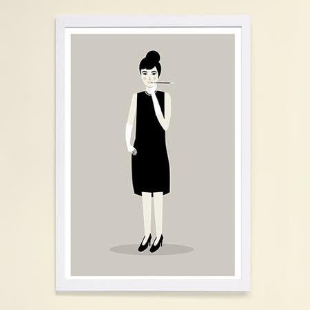 【摩達客】西班牙插畫家Judy Kaufmann藝術海報掛畫裝飾畫-奧黛麗赫本 (附Judy本人簽名)(含木框)