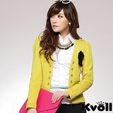 【KVOLL中大尺碼】薑黃色雙排珠扣配胸花百搭小外套