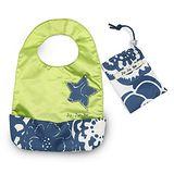 【美國JuJuBe媽咪包】BeNeat 雙面防潑水嬰兒圍兜-Cobalt Blossoms 藍色繽紛