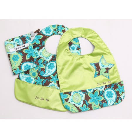 【美國JuJuBe媽咪包】BeNeat 雙面防潑水嬰兒圍兜-Drip Drops 輕舞羅縵