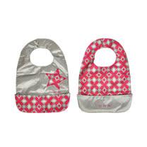【美國JuJuBe媽咪包】BeNeat 雙面防潑水嬰兒圍兜-Pink Pinwheels 粉系迷情