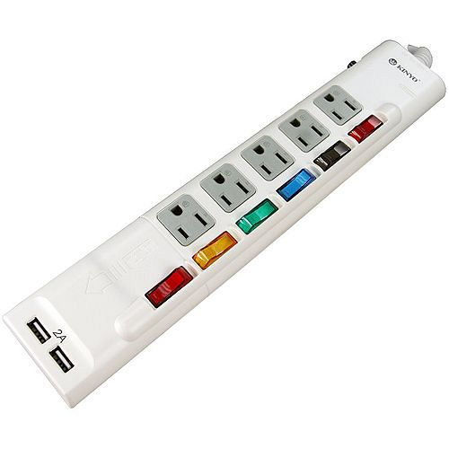 KINYO三孔5座6切+2USB極速充電過載保護延長線插座(UJ55-06)