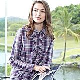 【FANTINO】女款經典格紋荷葉長袖襯衫 384102