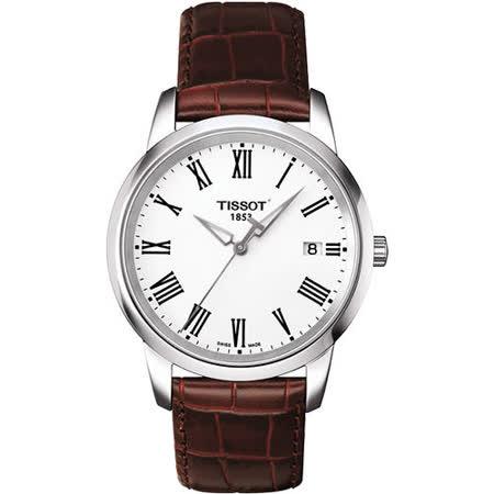 TISSOT CLASSIC DREAM 羅馬皮帶腕錶-銀 T0334101601301