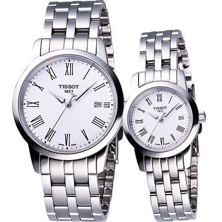 TISSOT CLASSIC DREAM 經典鋼帶對錶-白 T0334101101301+T0332101101300