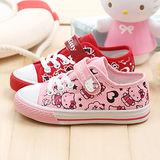 【童鞋城堡】Hello kitty三麗鷗滿版童繪風帆布鞋{台灣製造}713541