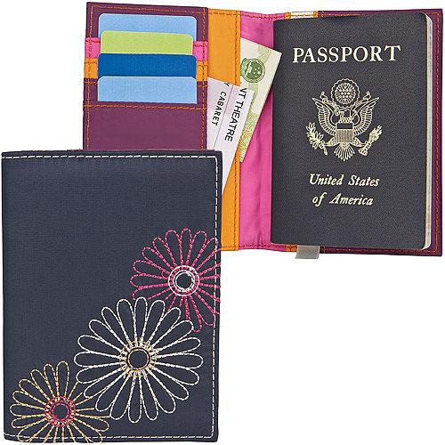 《TRAVELON愛 買 特價》多彩菊防護護照夾(藍)
