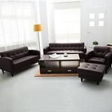 【日安家居】Lusta時尚舒適1+2+3+腳凳皮沙發組(黑色/咖啡)