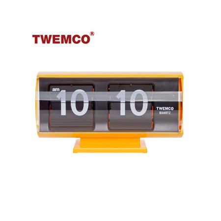 【TWEMCO】復古收藏 圓筒造型翻頁鐘\桌鐘 QT-30T 黃色