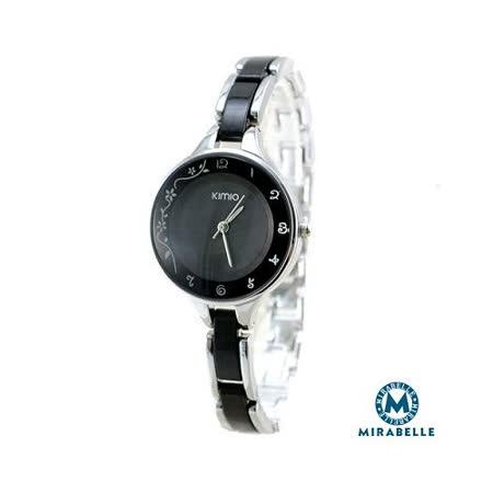 【Mirabelle】緞帶花芬*仿陶瓷感鍊錶/黑