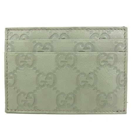 GUCCI Guccissimad雙層皮革壓紋名片夾(粉綠)