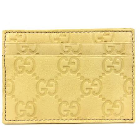 GUCCI Guccissimad雙層皮革壓紋名片夾(鵝黃)