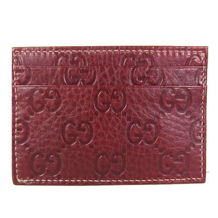 GUCCI Guccissimad雙層皮革壓紋名片夾(紅)