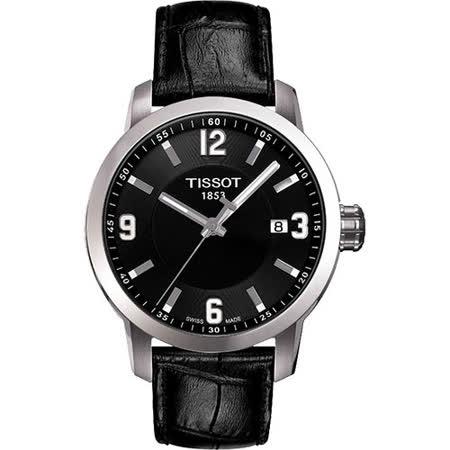 TISSOT PRC200 都會菁英時尚腕錶(黑皮帶/39mm) T0554101605700