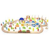 classic world 德國經典木玩客來喜 木製德國捷運+火車豪華大型軌道組(110pcs) 木製益智玩具