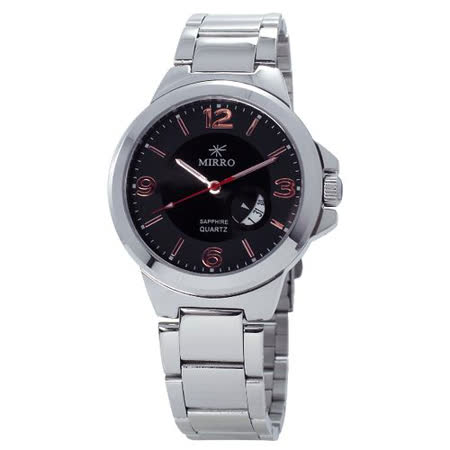 MIRRO都會簡約日誌型不鏽鋼石英錶-黑面6930M