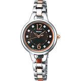 SEIKO VIVACE 甜心教主 電波太陽能腕錶(咖啡/27mm) 3B51-0AR0C