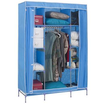【免工具】寬125公分-三層八格(不織布)吊衣架/吊衣櫥[附彩色布套]-4色可選