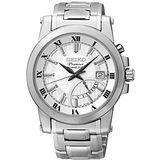 SEIKO Premier 都會品味人動電能腕錶(銀/42mm) 5M84-0AA0S