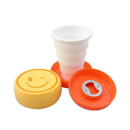 ~iSFun~搞怪表情~附開瓶器收納摺疊杯 色