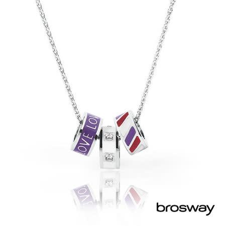 brosway Tres Jolie 施華洛世奇水鑽不鏽鋼項鍊 紫/白
