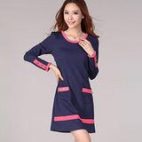 【麗質達人中大碼】2053設計款洋裝(藍色)