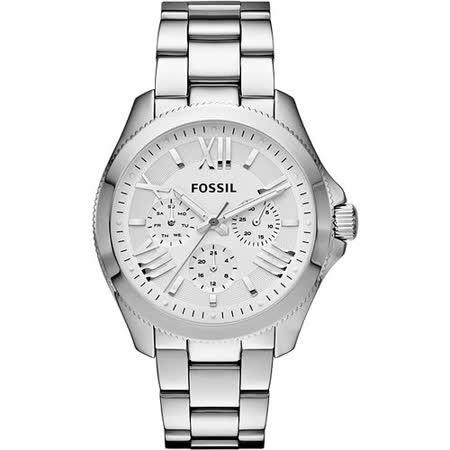 FOSSIL Grant 旗艦日歷復刻腕錶-銀 AM4509