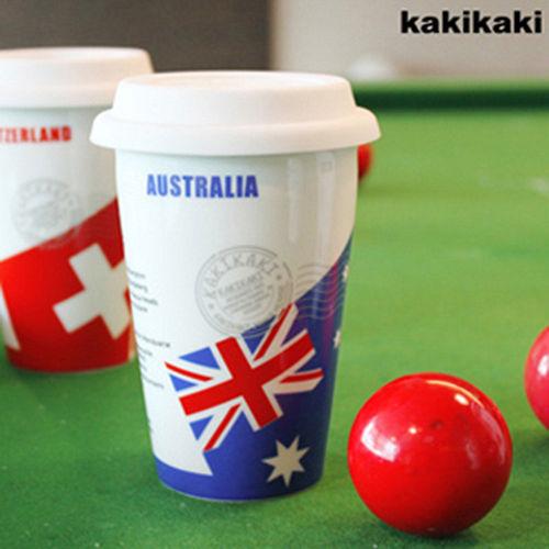 加贈!國旗收納袋 ^~kakikaki 澳洲 雙層陶瓷杯
