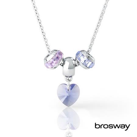brosway Tres Jolie mini系列 施華洛世奇水鑽不鏽鋼項鍊 淡紫/藍
